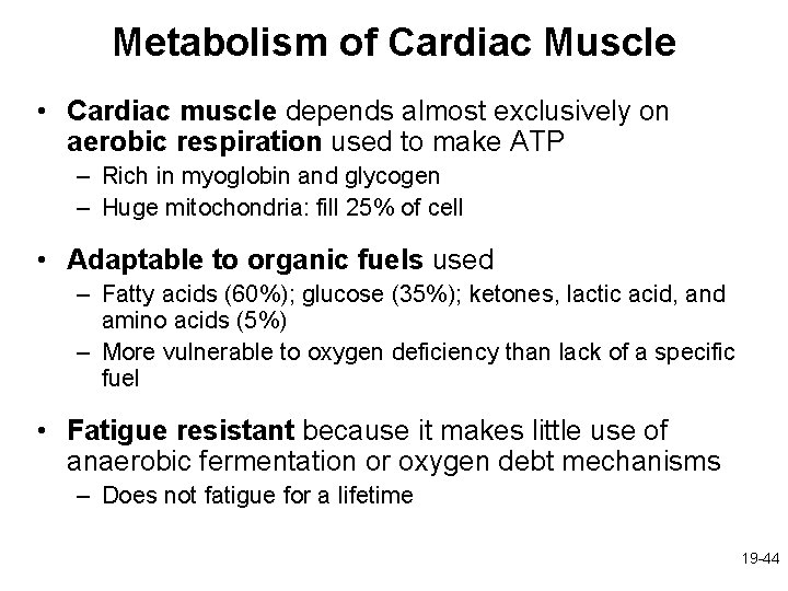 Metabolism of Cardiac Muscle • Cardiac muscle depends almost exclusively on aerobic respiration used