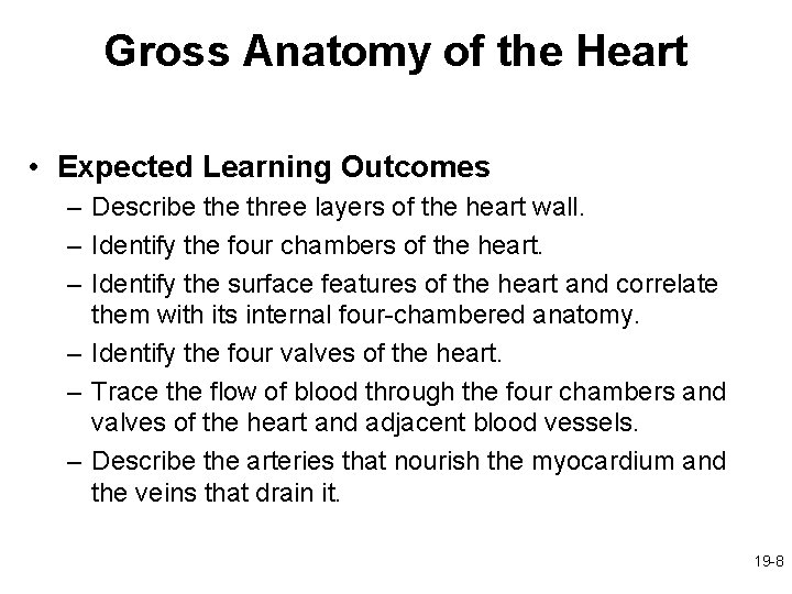 Gross Anatomy of the Heart • Expected Learning Outcomes – Describe three layers of
