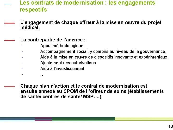 Les contrats de modernisation : les engagements respectifs L'engagement de chaque offreur à la