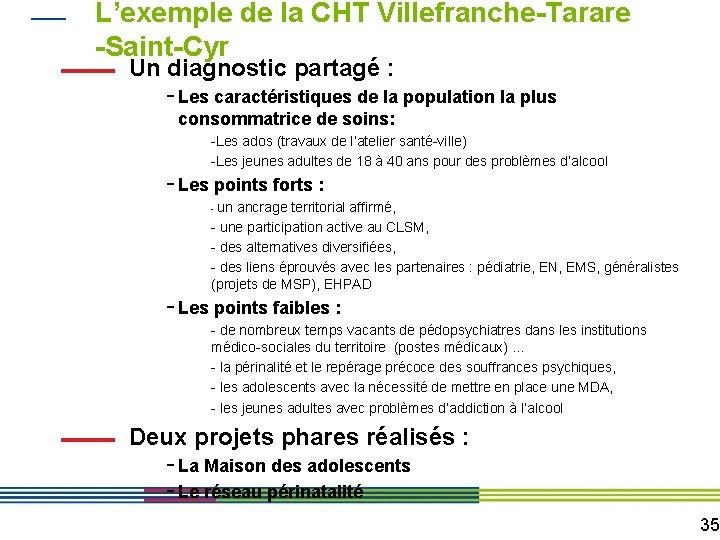 L'exemple de la CHT Villefranche-Tarare -Saint-Cyr Un diagnostic partagé : - Les caractéristiques de