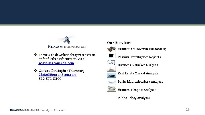 Our Services Economic & Revenue Forecasting v To view or download this presentation or