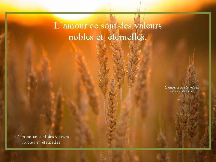 L'amour ce sont des valeurs nobles et éternelles,