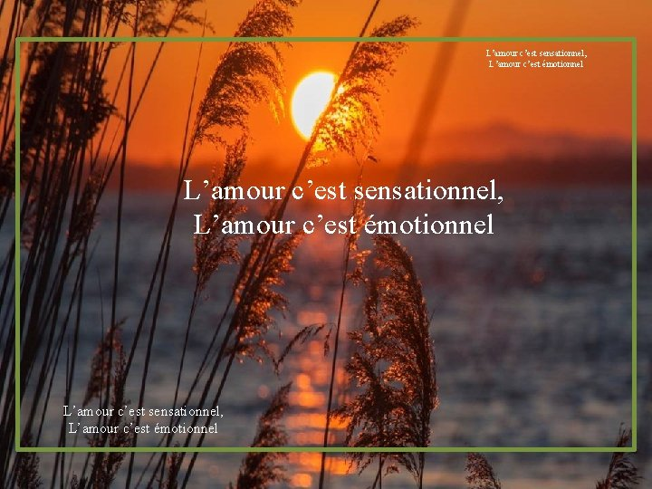 L'amour c'est sensationnel, L'amour c'est émotionnel
