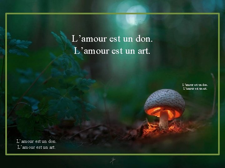 L'amour est un don. L'amour est un art.