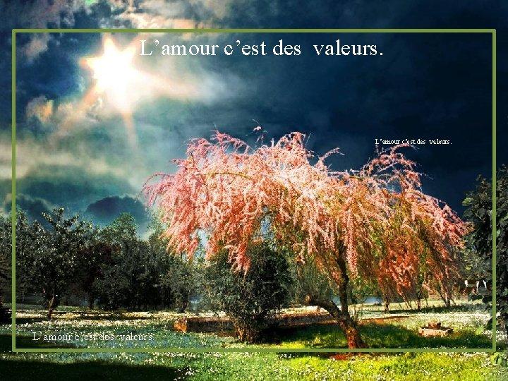 L'amour c'est des valeurs.