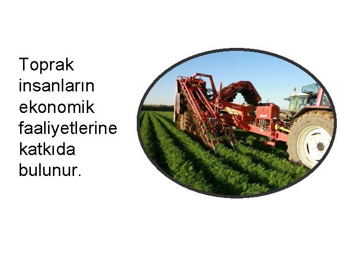 Toprak insanların ekonomik faaliyetlerine katkıda bulunur.