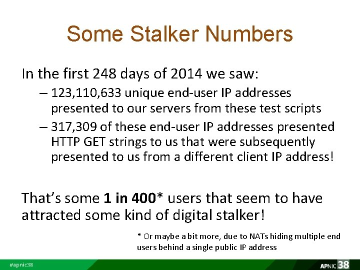 Some Stalker Numbers In the first 248 days of 2014 we saw: – 123,