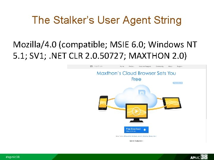 The Stalker's User Agent String Mozilla/4. 0 (compatible; MSIE 6. 0; Windows NT 5.