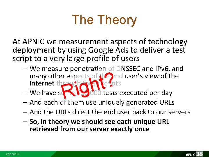 The Theory At APNIC we measurement aspects of technology deployment by using Google Ads