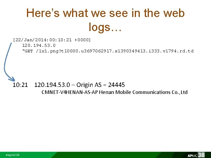 Here's what we see in the web logs… [22/Jan/2014: 00: 10: 21 +0000] 120.