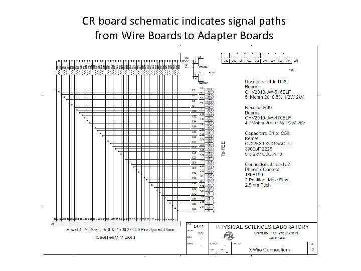CR board schematic indicates signal paths from Wire Boards to Adapter Boards