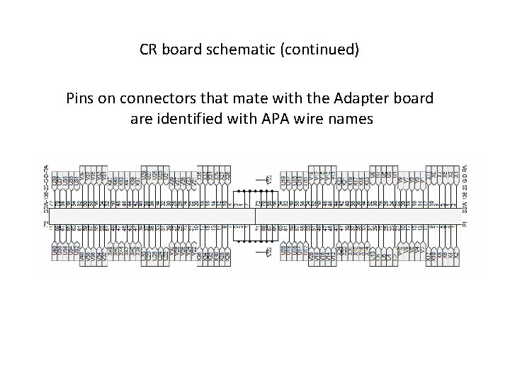 CR board schematic (continued) Pins on connectors that mate with the Adapter board are