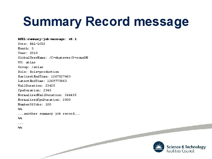 Summary Record message APEL-summary-job-message: v 0. 1 Site: RAL-LCG 2 Month: 3 Year: 2010