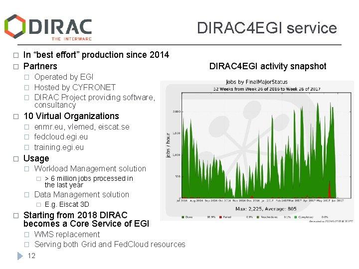 "DIRAC 4 EGI service � � In ""best effort"" production since 2014 Partners �"