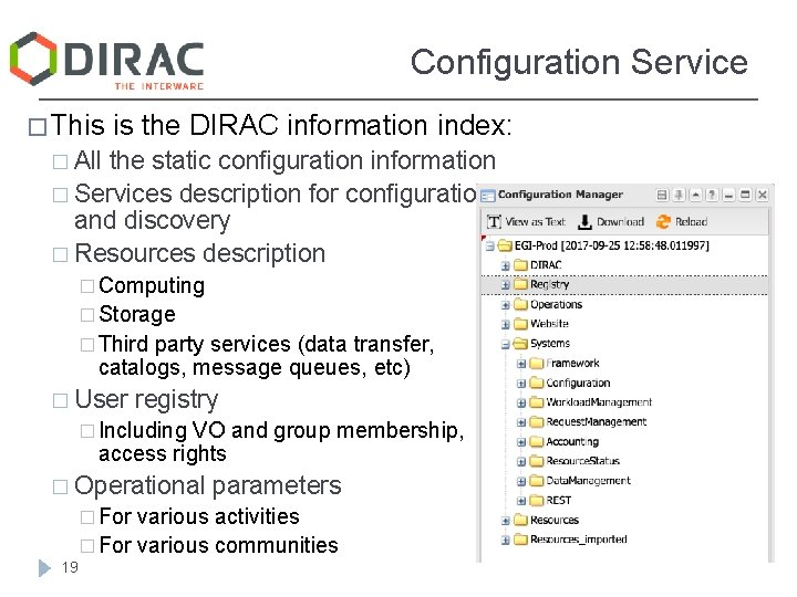 Configuration Service � This is the DIRAC information index: � All the static configuration