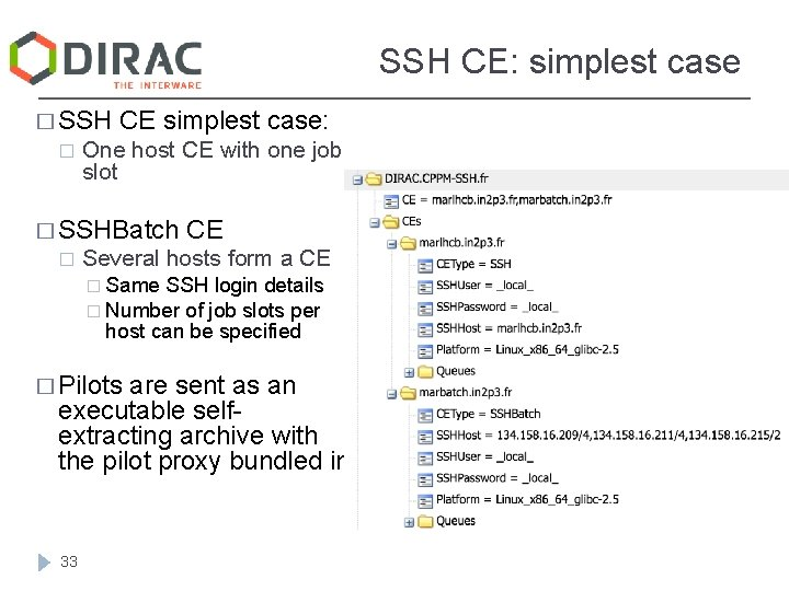 SSH CE: simplest case � SSH � CE simplest case: One host CE with