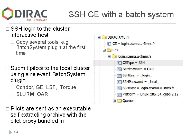 SSH CE with a batch system � SSH login to the cluster interactive host