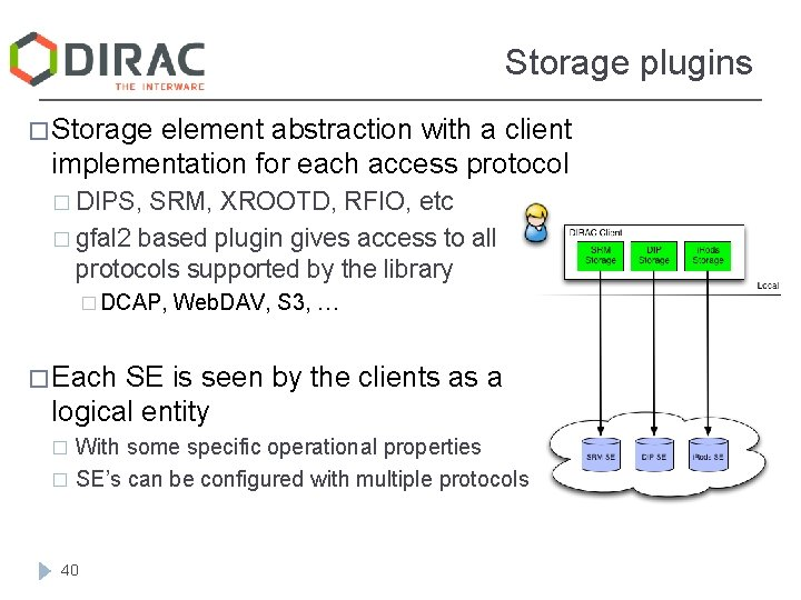 Storage plugins � Storage element abstraction with a client implementation for each access protocol