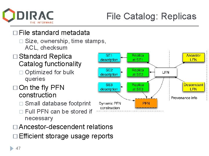 File Catalog: Replicas � File � standard metadata Size, ownership, time stamps, ACL, checksum