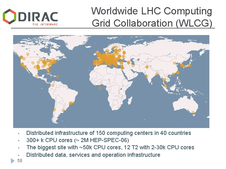 Worldwide LHC Computing Grid Collaboration (WLCG) • • 58 Distributed infrastructure of 150 computing