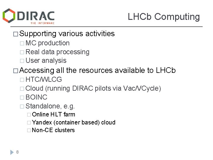 LHCb Computing � Supporting various activities � MC production � Real data processing �