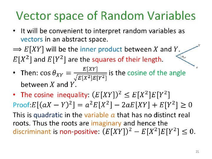Vector space of Random Variables • 21
