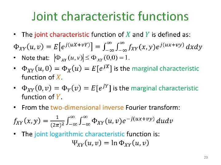Joint characteristic functions • 23