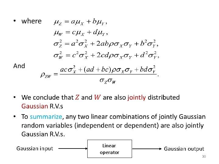 • Gaussian input Linear operator Gaussian output 30