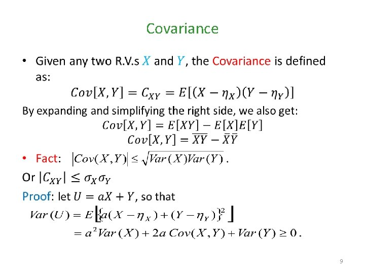 Covariance • 9