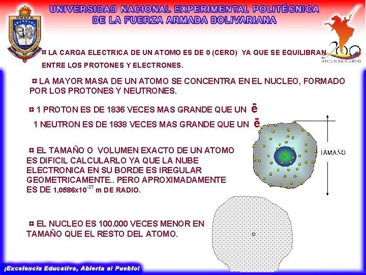 ¤ LA CARGA ELECTRICA DE UN ATOMO ES DE 0 (CERO) YA QUE SE