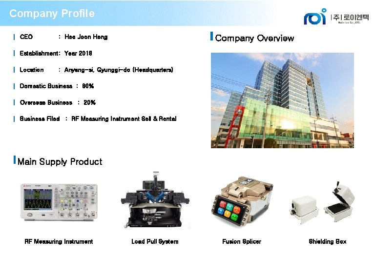 Company Profile ▍ CEO Company Overview : Heo Joon Heng ▍ Establishment: Year 2018