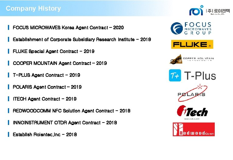 Company History ▍ FOCUS MICROWAVES Korea Agent Contract – 2020 ▍ Establishment of Corporate