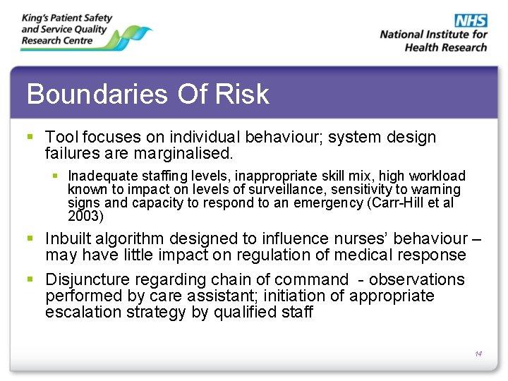 Boundaries Of Risk § Tool focuses on individual behaviour; system design failures are marginalised.