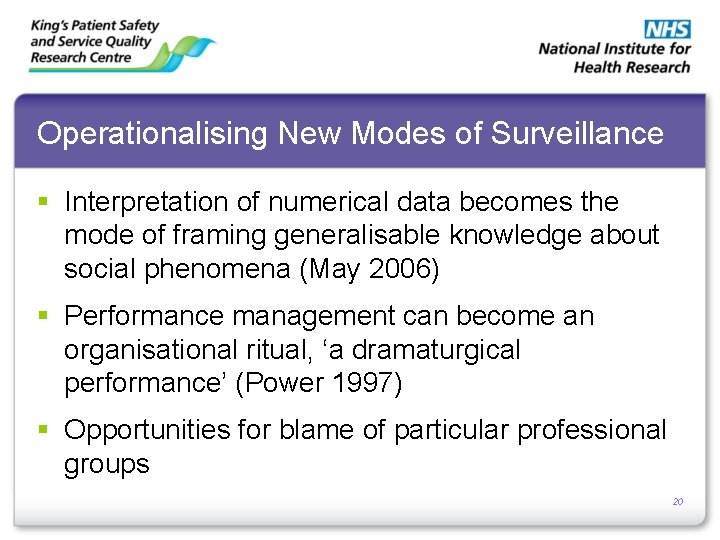 Operationalising New Modes of Surveillance § Interpretation of numerical data becomes the mode of