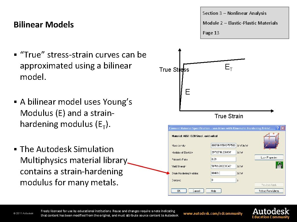"""Section 3 – Nonlinear Analysis Bilinear Models § § § """"True"""" stress-strain curves can"""