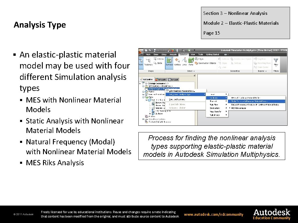 Section 3 – Nonlinear Analysis Type § Module 2 – Elastic-Plastic Materials Page 15