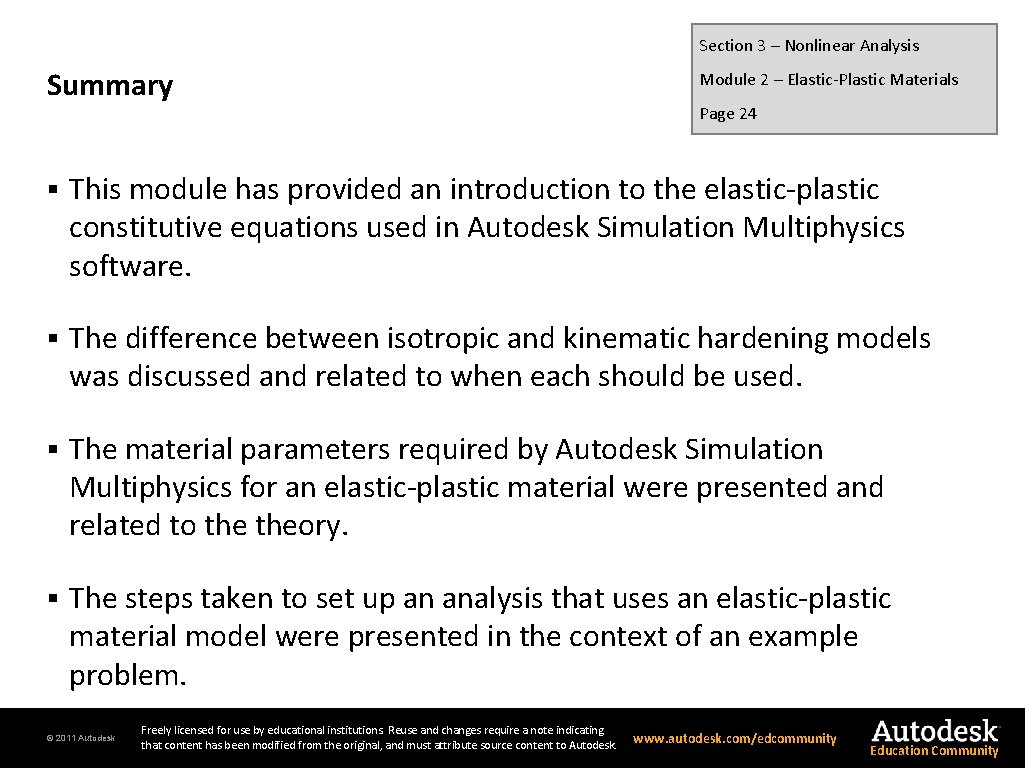 Section 3 – Nonlinear Analysis Summary Module 2 – Elastic-Plastic Materials Page 24 §