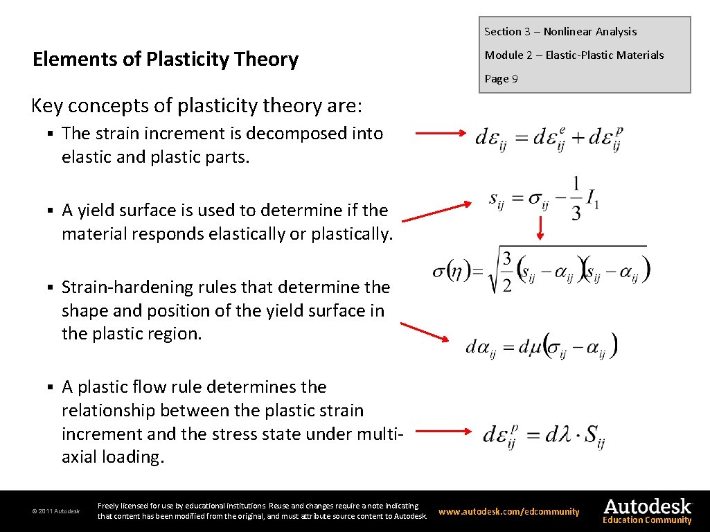 Section 3 – Nonlinear Analysis Elements of Plasticity Theory Module 2 – Elastic-Plastic Materials