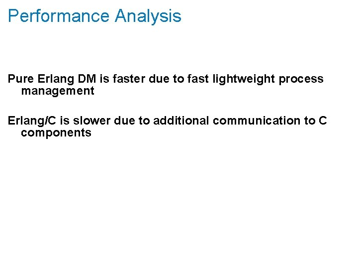 Performance Analysis Pure Erlang DM is faster due to fast lightweight process management Erlang/C