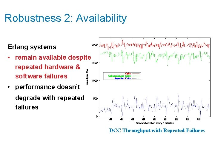 Robustness 2: Availability Erlang systems • remain available despite repeated hardware & software failures