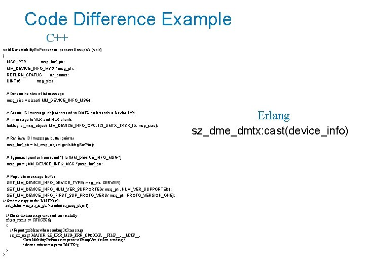 Code Difference Example C++ void Data. Mobility. Rx. Processor: : process. Unsup. Ver(void) {
