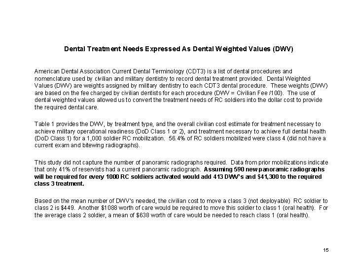 Dental Treatment Needs Expressed As Dental Weighted Values (DWV) American Dental Association Current Dental