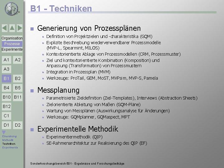 B 1 - Techniken n Generierung von Prozessplänen Organisation l Prozesse Experimente l l