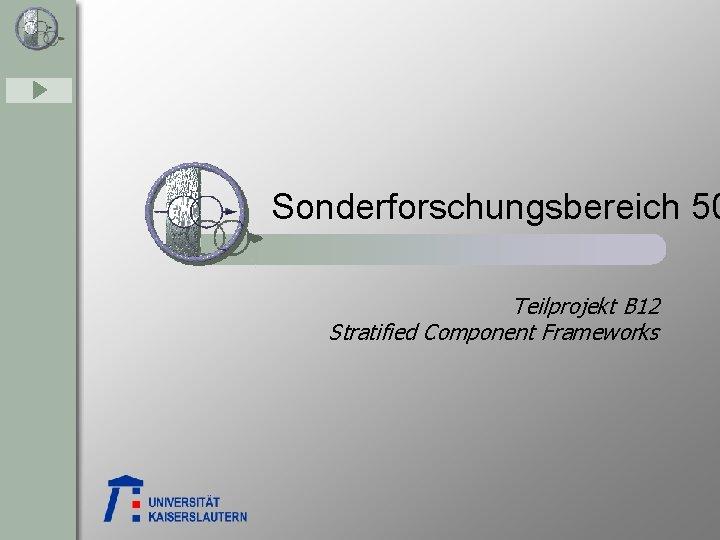 Sonderforschungsbereich 50 Teilprojekt B 12 Stratified Component Frameworks