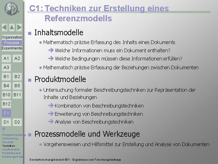 C 1: Techniken zur Erstellung eines Referenzmodells Organisation n l Prozesse Experimente A 1