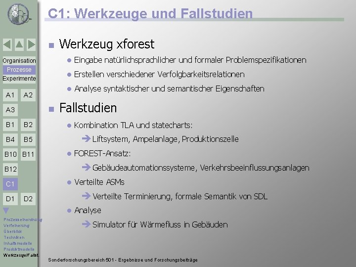C 1: Werkzeuge und Fallstudien n Werkzeug xforest Organisation l Eingabe natürlichsprachlicher und formaler