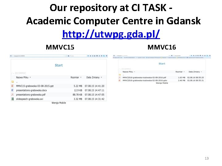 Our repository at CI TASK Academic Computer Centre in Gdansk http: //utwpg. gda. pl/