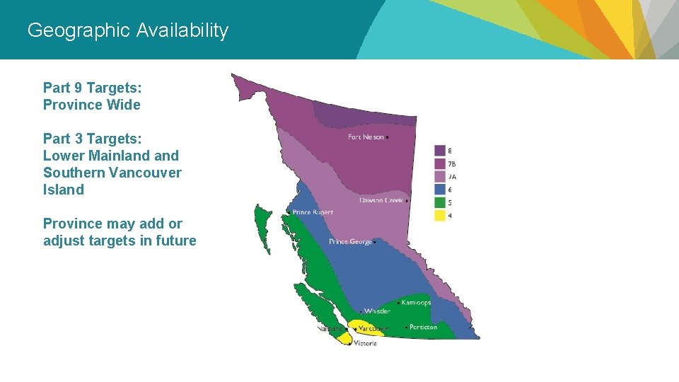 Geographic Availability Part 9 Targets: Province Wide Part 3 Targets: Lower Mainland Southern Vancouver