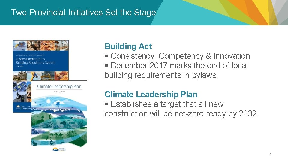 Two Provincial Initiatives Set the Stage Building Act § Consistency, Competency & Innovation §
