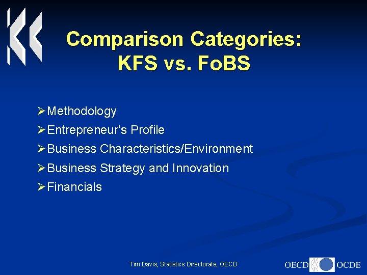 Comparison Categories: KFS vs. Fo. BS ØMethodology ØEntrepreneur's Profile ØBusiness Characteristics/Environment ØBusiness Strategy and